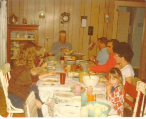 Family meals at Grandma Dotterer's house always included lots of food, lots of people, and lots of questionable stories. That's me looking bewildered in the lower right-hand corner.