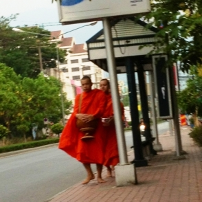 monks on street