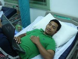Our friend Bona - at work in Cambodia even while at the hospital.