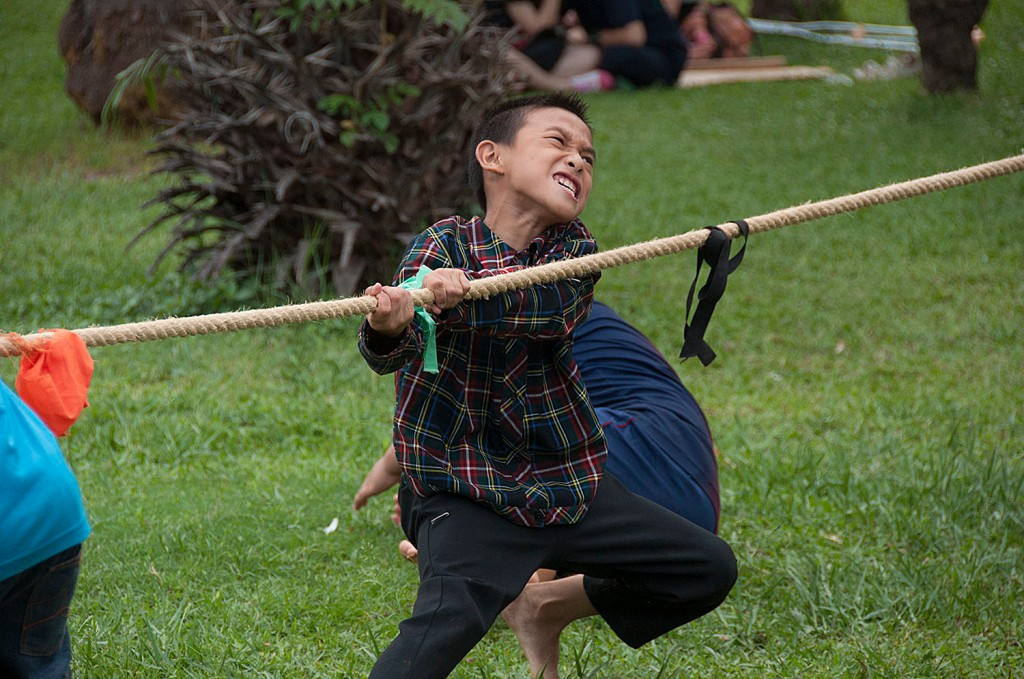 Outreach in Chiang Mai to Lisu, Karen Hilltribes. All boys LOVE tug-of-war!