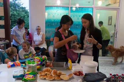 We celebrated with the students during a cultural night. We served a typical American barbecue meal of hot dogs, chips, and Coke. I wish I knew what the girls were talking about. Check out Jaynee's face!