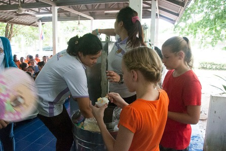 Serving homemade coconut ice cream at the women's prison.