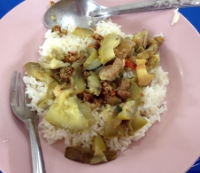 Burmese lunch! Squash with pork and a flaming hot peanut paste. So good!