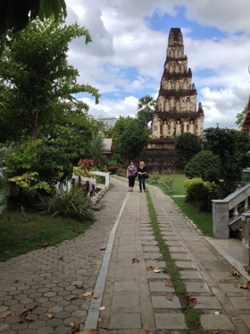 Two of our team members prayer walking on the temple grounds.