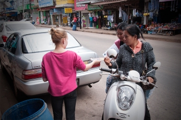 We spent one morning distributing Gospel tracts around the market square in the village of Ban Phur.