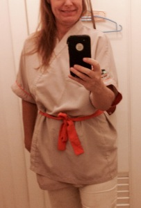 My ninja uniform! I cropped out the top of my head because I had a googly-eyed look on my face.