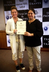 Certified! With our TEFL teacher Amrita.