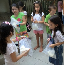 Making ice cream for cooking class.