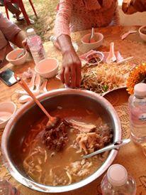 Breakfast! Rice porridge with stewed pork and mushrooms.