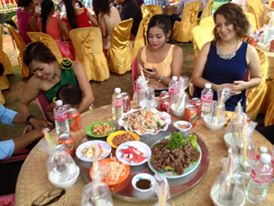 Dinner reception. Cambodian lak lak, green papaya salad and a whole bunch of other stuff I couldn't eat! After we finished this round, they brought an entire table full of different food!