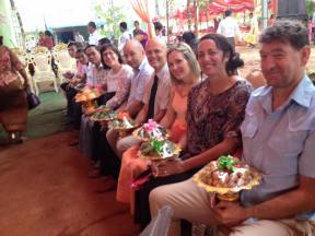 The lineup of fruit holders! The bride and groom are honored with gifts of fruit. My two new Kiwi friends Chris and Dave are on the end. Rob is 5th from the right. These are the three I will be working with to get clean water to the village.